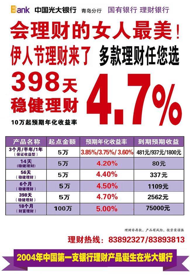 光大银行理财产品:398天稳健理财预期收益4.7